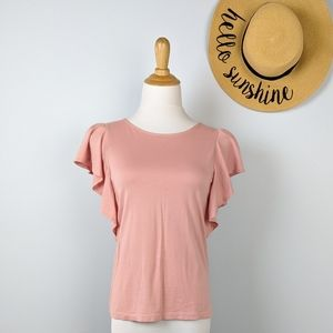 Uniqlo Blush Ruffle Cap Sleeve Top Pink XS
